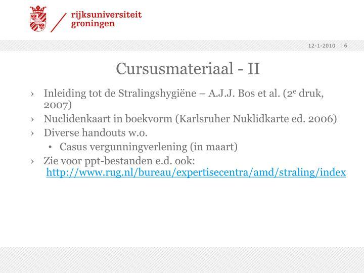 Cursusmateriaal - II
