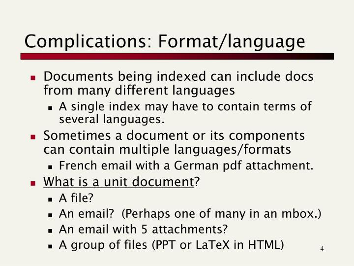 Complications: Format/language