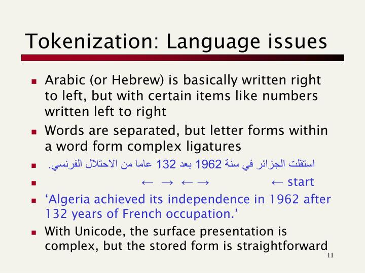 Tokenization: Language issues
