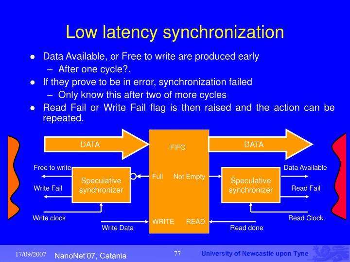 Low latency synchronization