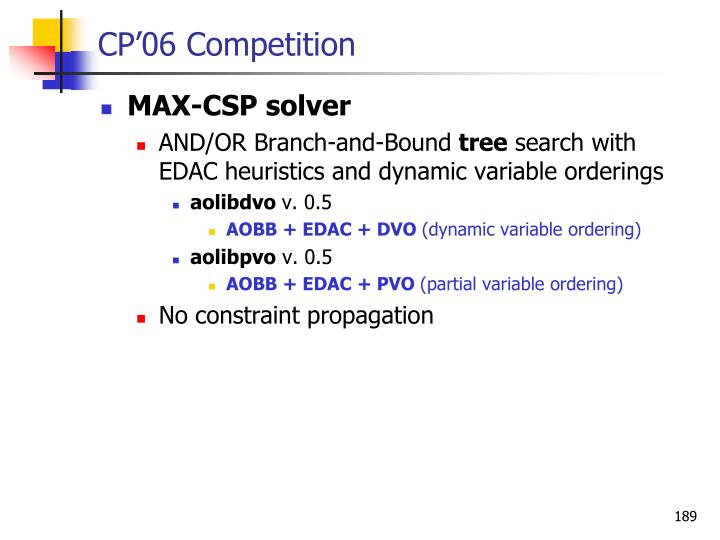 CP'06 Competition