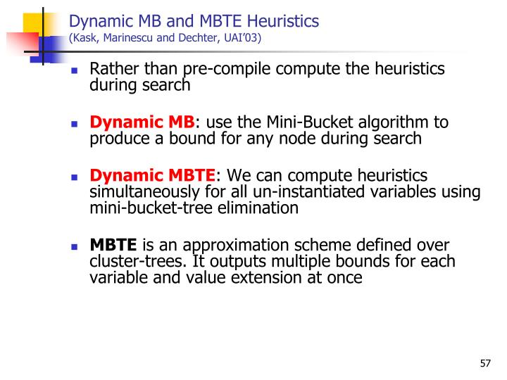 Dynamic MB and MBTE Heuristics