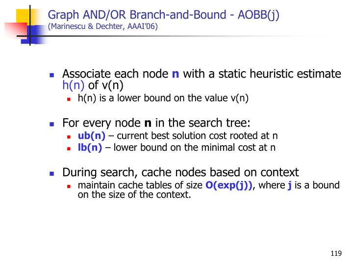 Graph AND/OR Branch-and-Bound - AOBB(j)