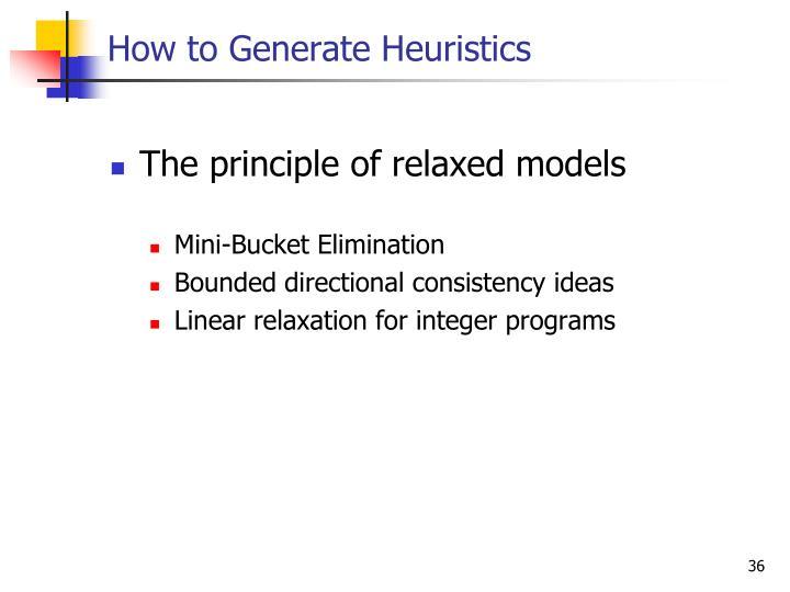 How to Generate Heuristics