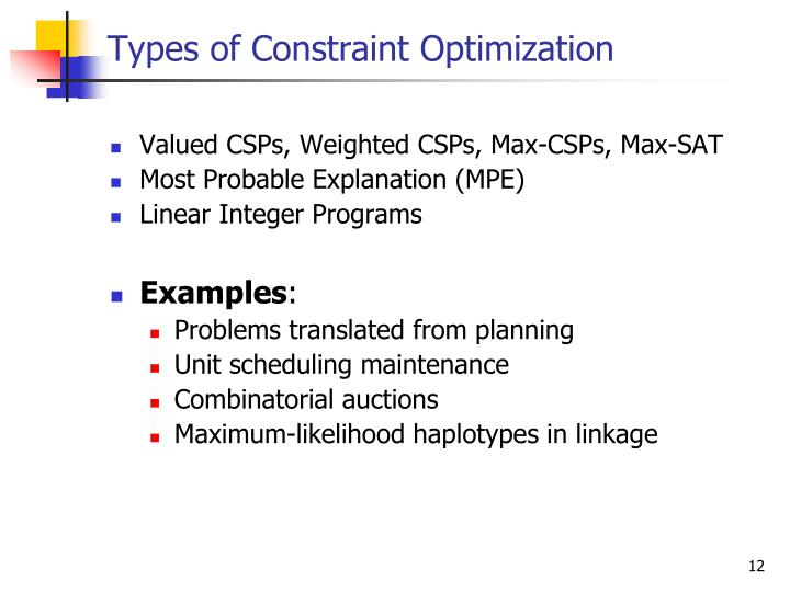 Types of Constraint Optimization