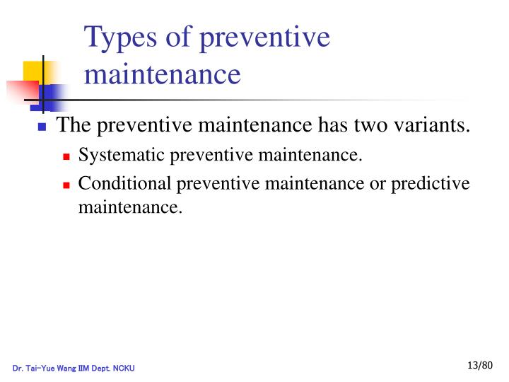 Types of preventive maintenance