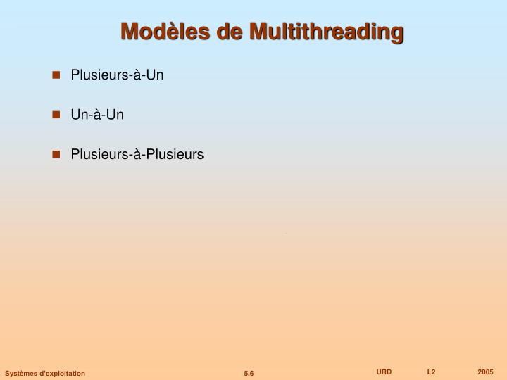 Modèles de Multithreading