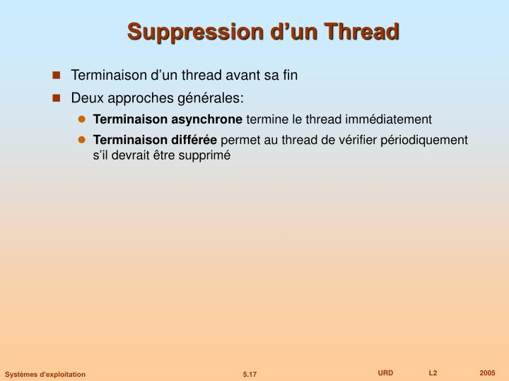 Suppression d'un Thread
