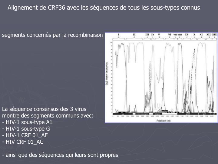 Alignement de CRF36 avec les séquences de tous les sous-types connus