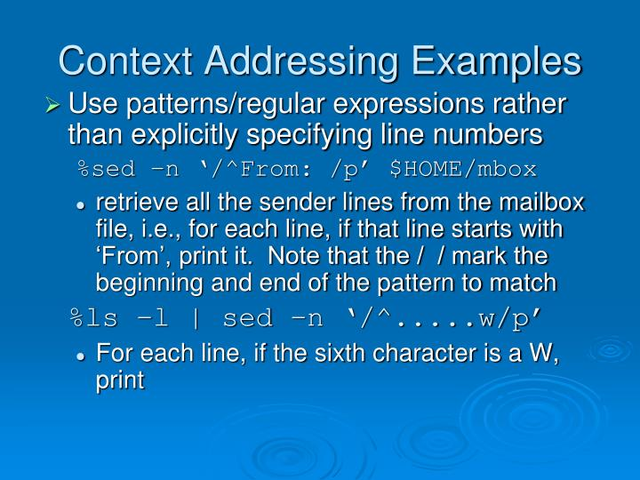 Context Addressing Examples
