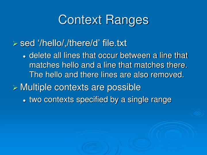 Context Ranges