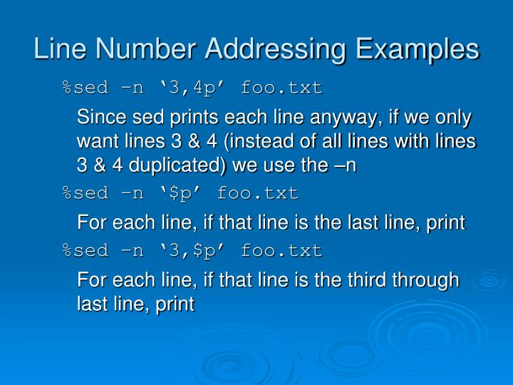 Line Number Addressing Examples