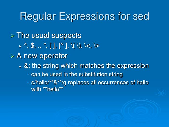 Regular Expressions for sed