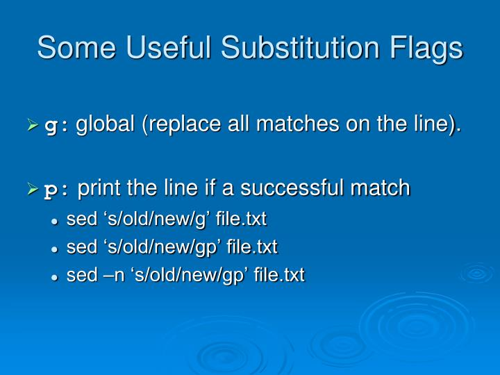 Some Useful Substitution Flags