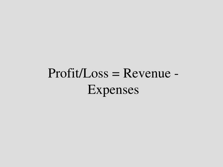 Profit/Loss = Revenue - Expenses