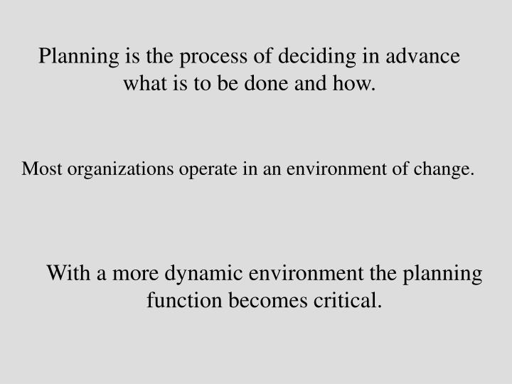 Planning is the process of deciding in advance what is to be done and how.