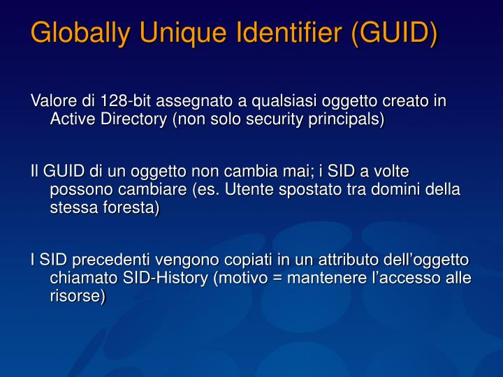 Globally Unique Identifier (GUID)