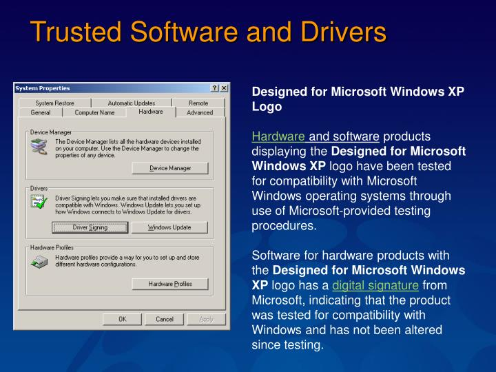 Trusted Software and Drivers