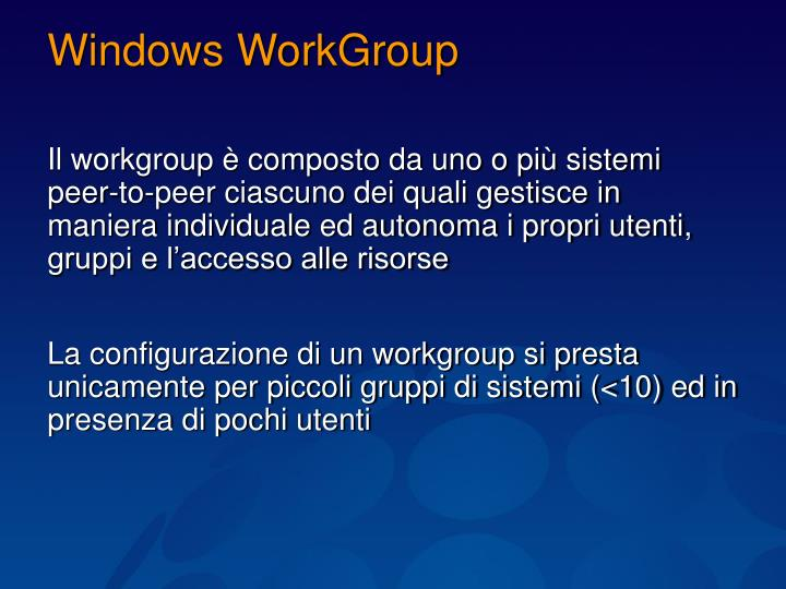 Windows WorkGroup
