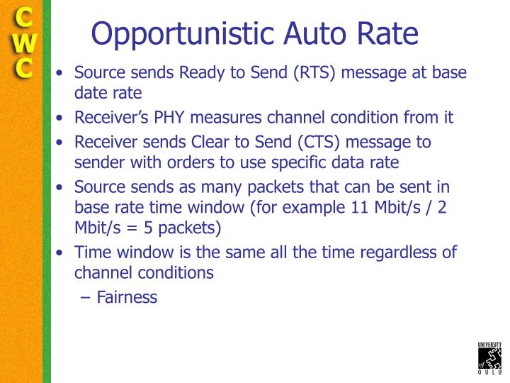 Opportunistic Auto Rate