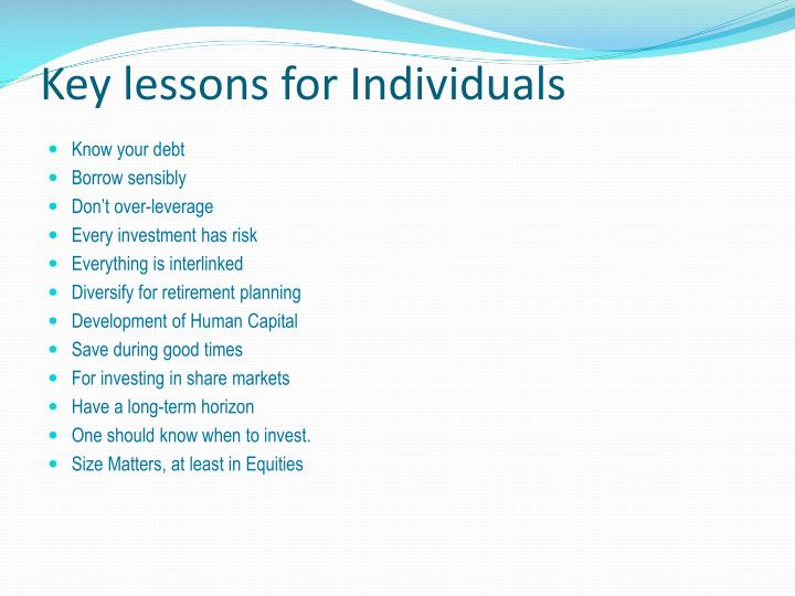 Key lessons for Individuals