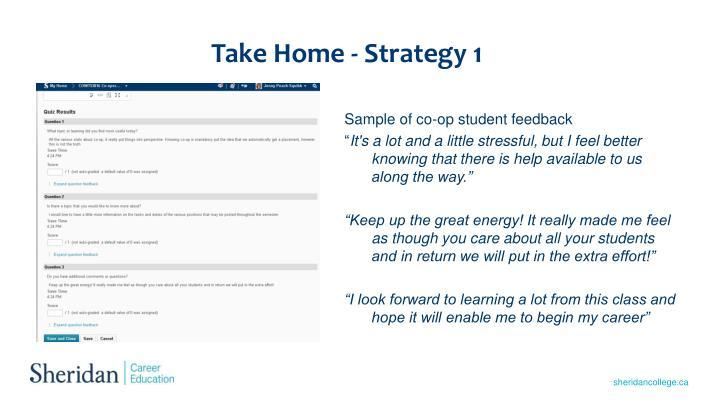 Take Home - Strategy 1