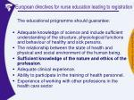 european directives for nurse education leading to registration