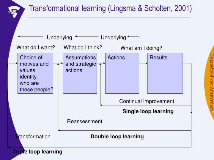 Transformational learning (Lingsma & Scholten, 2001)