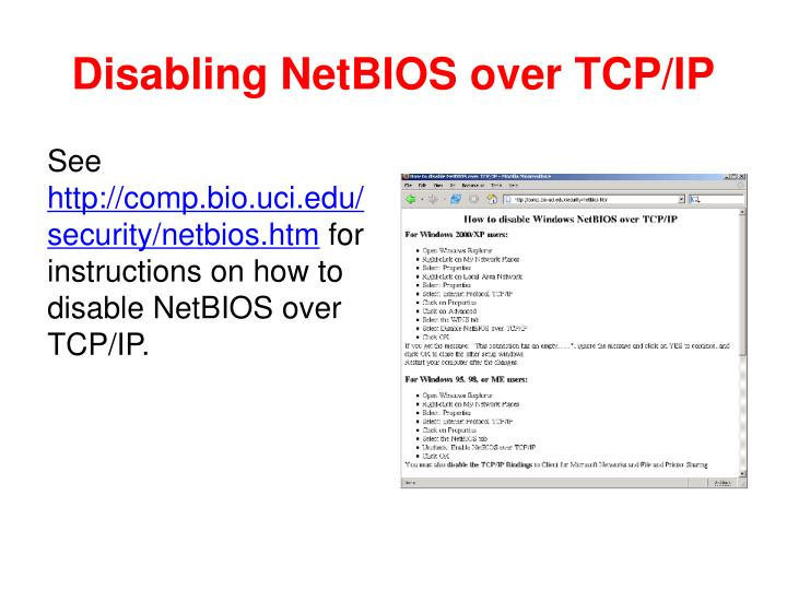 Disabling NetBIOS over TCP/IP