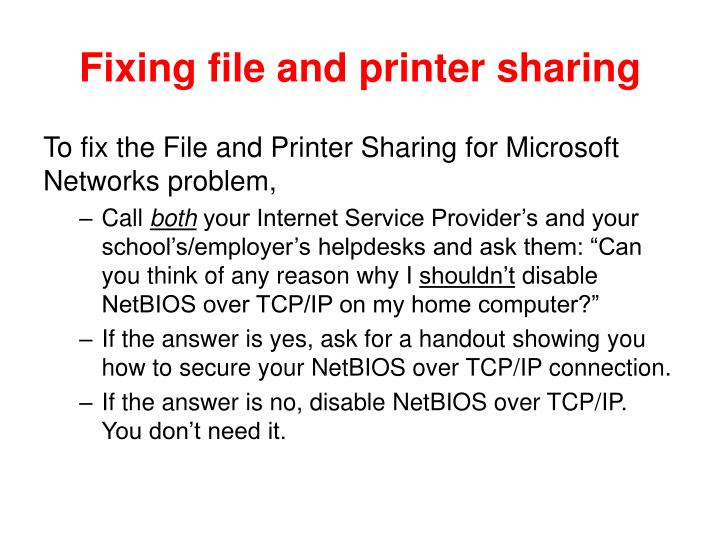 Fixing file and printer sharing