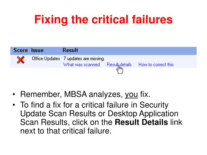 Fixing the critical failures