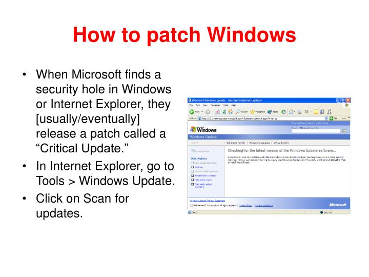 How to patch Windows