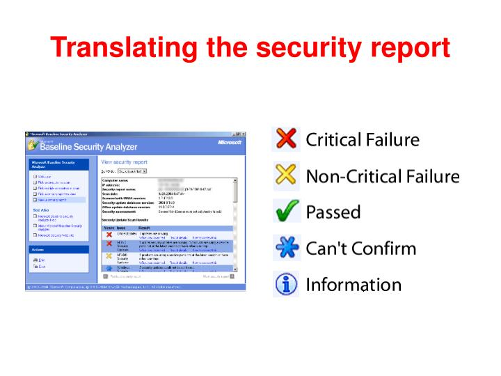 Translating the security report