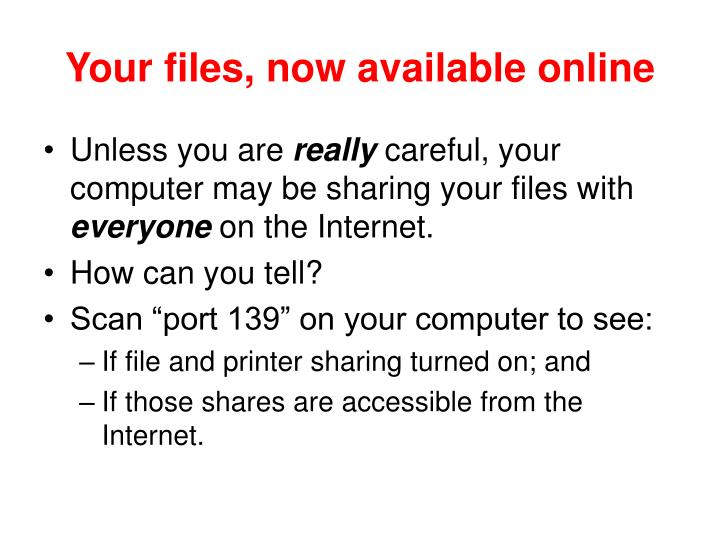 Your files, now available online