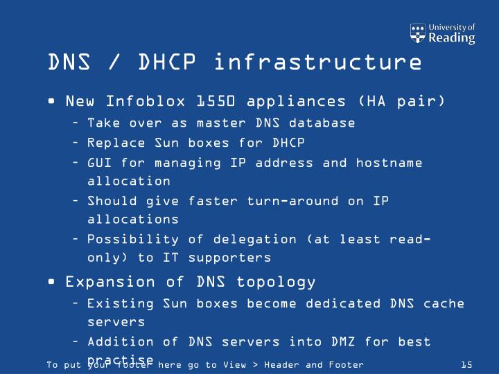 DNS / DHCP infrastructure
