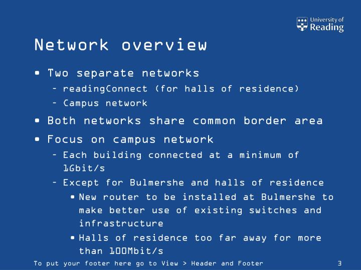 Network overview