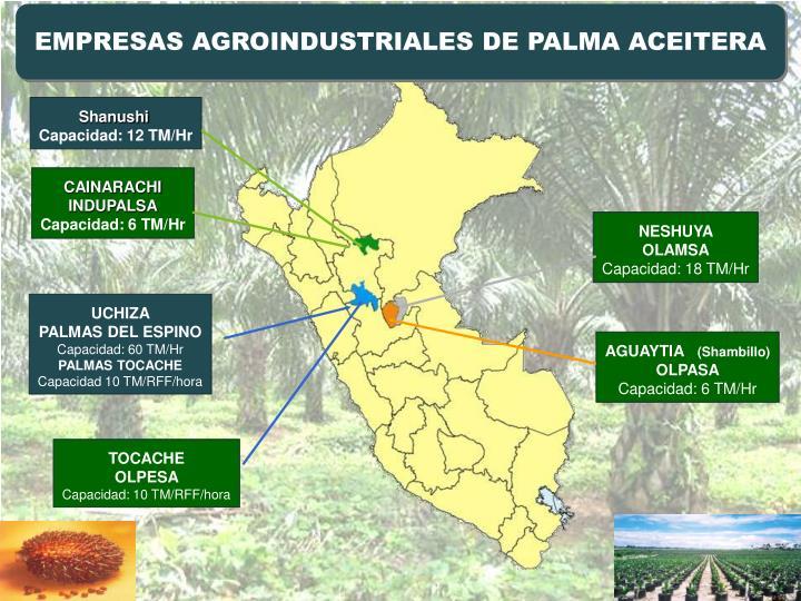 EMPRESAS AGROINDUSTRIALES DE PALMA ACEITERA