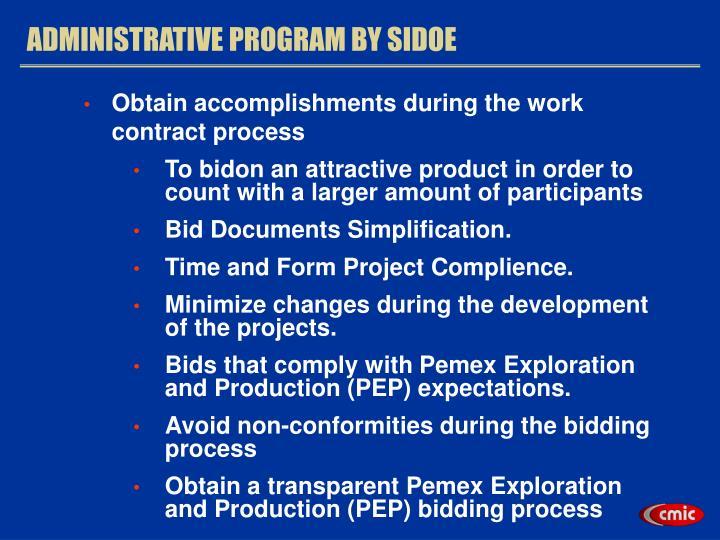 ADMINISTRATIVE PROGRAM BY SIDOE