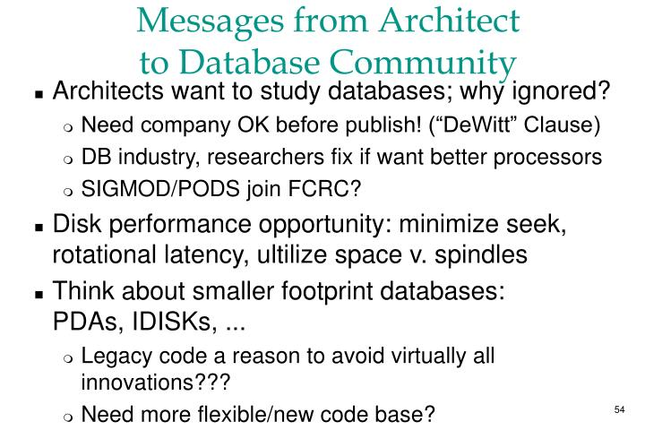 Messages from Architect