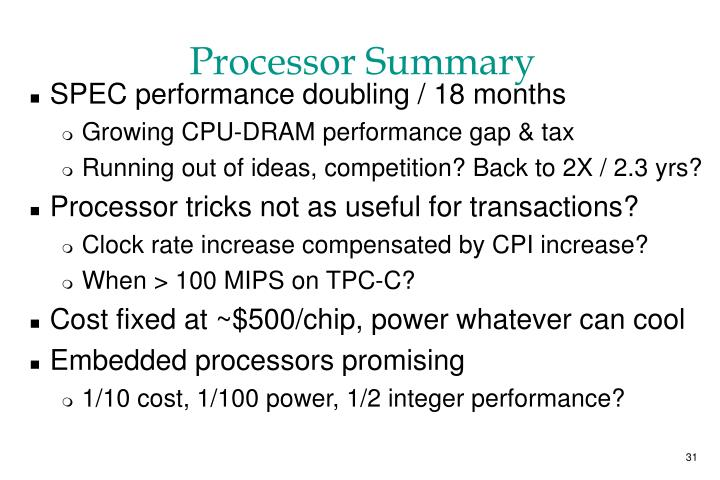 Processor Summary
