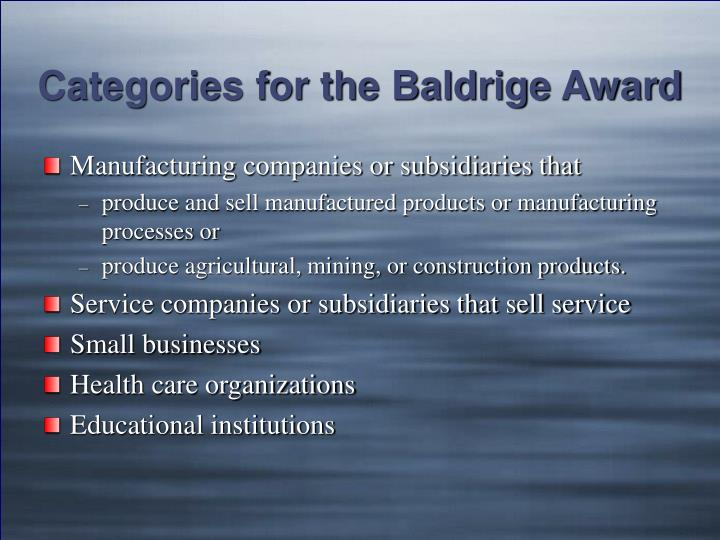 Categories for the Baldrige Award