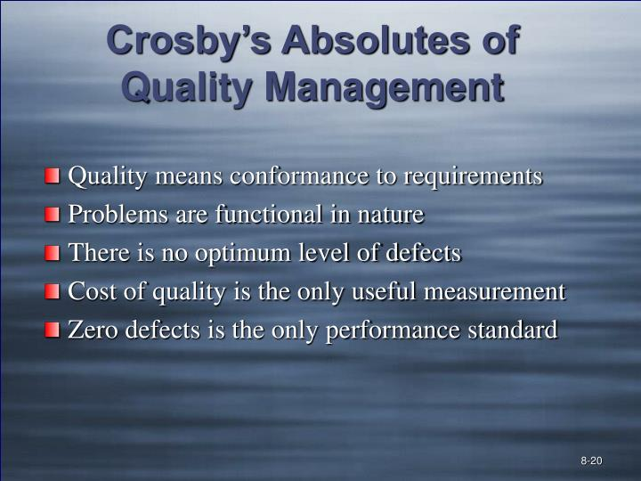 Crosby's Absolutes of Quality Management
