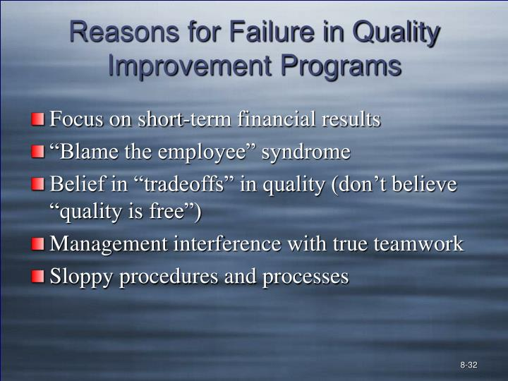 Reasons for Failure in Quality Improvement Programs