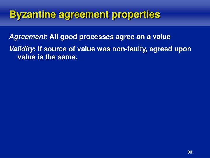 Byzantine agreement properties