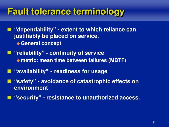 Fault tolerance terminology
