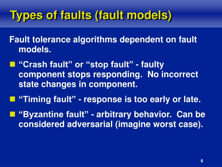 Types of faults (fault models)