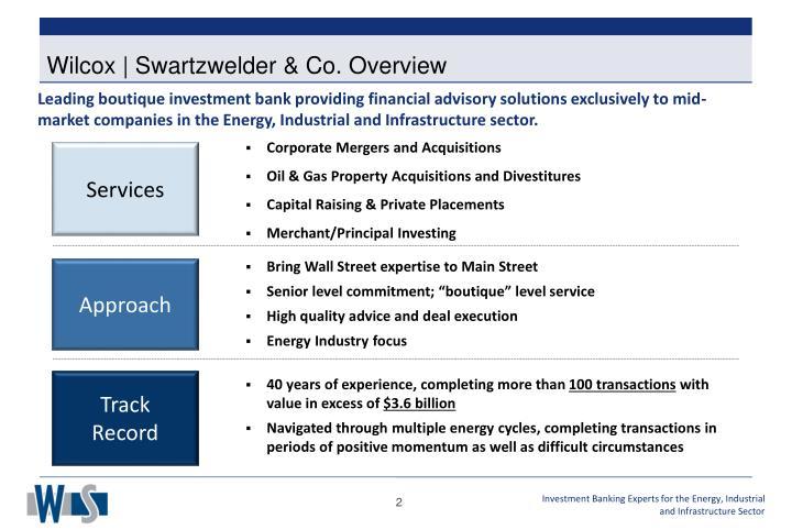 Wilcox | Swartzwelder & Co. Overview