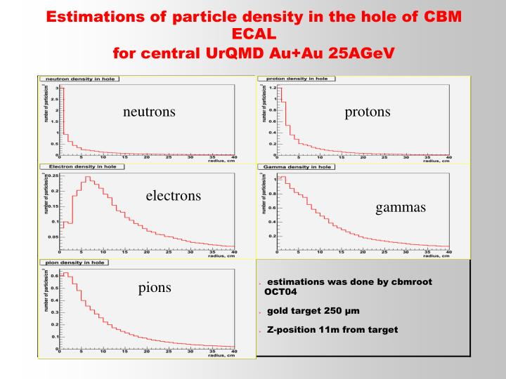 Estimations of particle density in the hole of CBM ECAL
