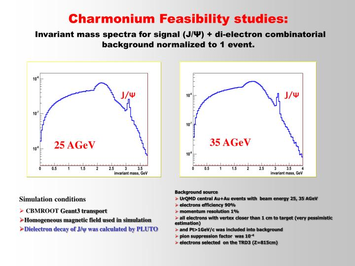 Charmonium Feasibility studies: