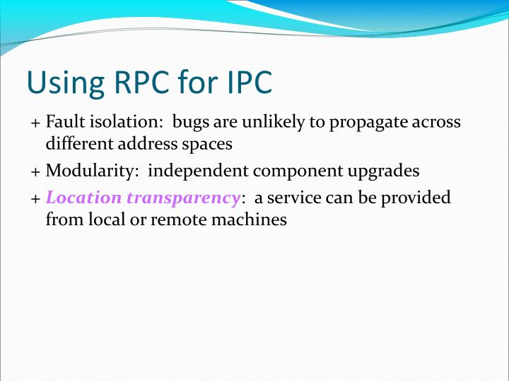 Using RPC for IPC